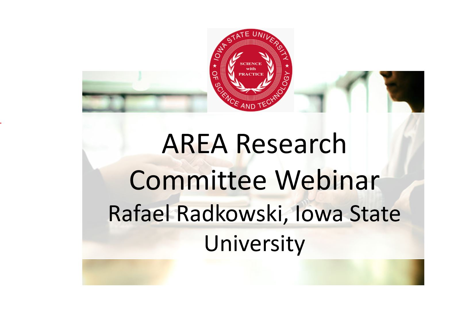 AREA Research Committee Webinar   Current AR Research Projects