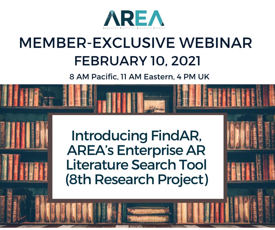 AREA Member-Exclusive Webinar – Introducing FindAR, AREA's Enterprise AR Literature Search Tool (8th Research Project)